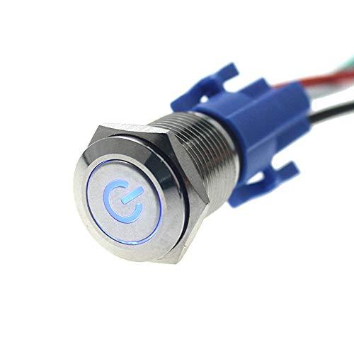 autopartes 16mm 12V del coche azul botón metálico del interruptor eléctrico del enchufe del zócalo for el coche deflectores de ventana