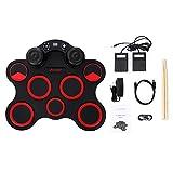 MooKe USB Enrollable Silicio Grupo De Percusión Digital Batería Electrónica Kit 7 Pads De Batería con Baquetas Pedales, Una Función De Altavoces Estéreo Dual, para Principiantes Niños Niños,Rojo