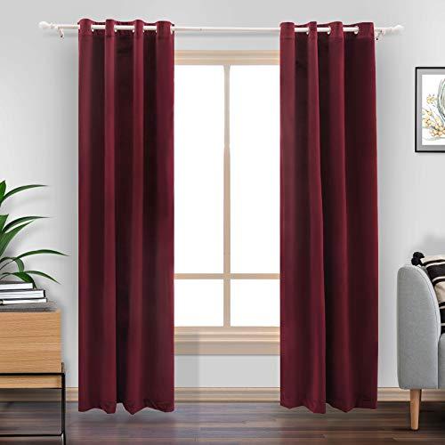 """LiilisPoetic Home Burgundy Velvet Curtains 84 inches for Living Room, 2 Panels Grommet Christmas Curtains Thermal Insulated Velvet Drapes for Bedroom (52"""" W x 84"""" L, Burgundy)"""