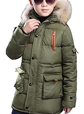 FARVALUE Boy Winter Coat Warm Quilted Puffer Parka Jacket with Fur Hood for Big Boys Army Green Size 10