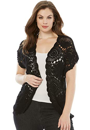 Roamans Women's Plus Size Medallion Crochet Cardigan Short Sleeve Sweater - 22/24, Black