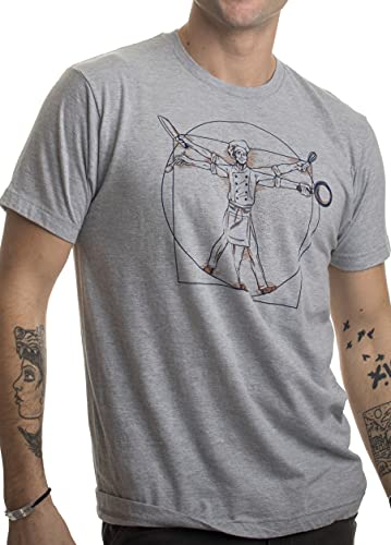 Vitruvian Chef | Funny Cook Restaurant Kitchen Worker Food Cooking Humor T-Shirt-(Adult,XL) Heather Grey