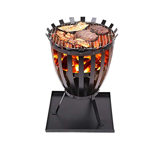CJSWT Outdoor Metal Fire Basket Fire Pit, Fire Bowl Steel Brazier Fire Basket for Bonfire Patio Backyard Garden Beaches Park