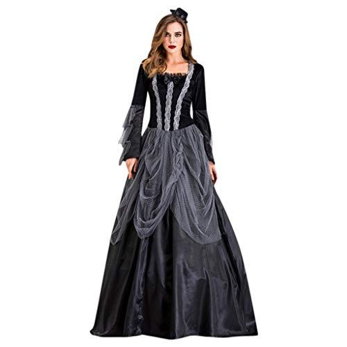Frauen Weinlese mittelalterliche mysteriöse Spitze gotische Kleid herrliches schwarzes Schwingenkleid YunYoud Damen Abendkleider elegant Partykleid Jumpsuit