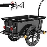 Deuba Remolque para Bicicletas Carga máx.80Kg 78x61x50cm Negro con Cesta extraíble Carro de Transporte