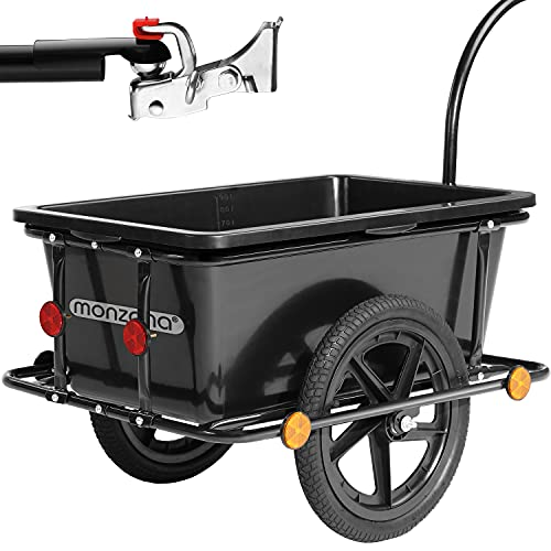 Remorque de vélo 90 litres avec Barre d'attelage poignées pneumatiques Charrette de Transport