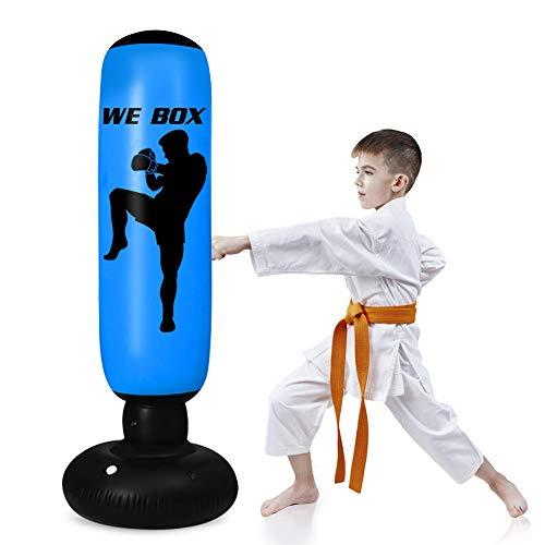 rolovee Boxsäck barn stående boxningssäck – 160 cm boxningssäck stående, vuxna barn stående boxningssäck för omedelbar återgång för att öva Karate , Taekwondon för ungdomar vuxna (blå)