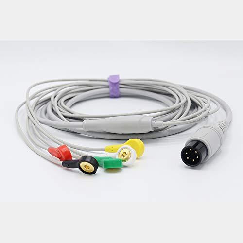 AAMI EKG Kabel, 5 Kabel, 6-polig, Winkelverbinder AHA Snap