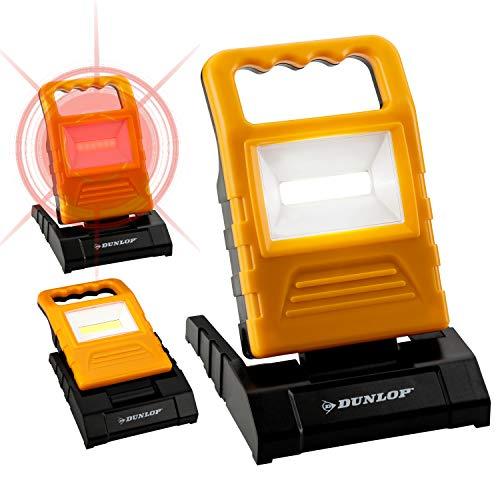 DUNLOP 2in1 LED Arbeitsleuchte und Warnleuchte   in 3 Stufen dimmbar + rot blinkend   90° aufstellbar   ultraflach   120 Lumen   Tragegriff