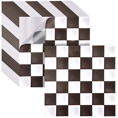 Irich 18 Pezzi 20x20 Piastrelle Adesive, Impermeabile Tagliabili PVC Adesivi per Pavimento Bagno Cucina Mattonelle Parete Fai da Te Nero e Marrone