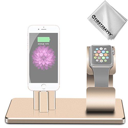 FIRST2SAVVV Oro 2 in 1 Supporto da Tavolo in Alluminio per Smartphone e Tablet & Apple Watch. Base di Ricarica per Apple iwatch/iPhone 8 7/7 Plus/6 6 Plus/SE + pezza per Pulire DOCK-SS-15G11