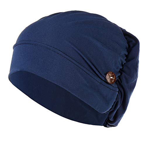 SADUORHAPPY Headbands Hat with Buttons Hat Cover Holder Wearing Protect Ears Head Wrap Hat Hair Bands Reducing Ear Pain Navy