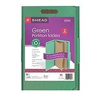 Smead 100%リサイクル厚紙フォルダ分類、2仕切り、2インチ拡張、法的サイズ、グリーン、51パック(19049)
