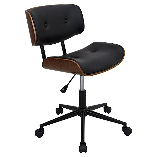 """LumiSource Lombardi Armless Bentwood Faux Leather Task Chair Dimensions: 24.5"""" W x 25"""" D x 34"""" H Seat Dimensions: 19"""" Wx15 Dx18.75-21.75"""" H Black Faux Leather/Wood Frame/Black/Base"""