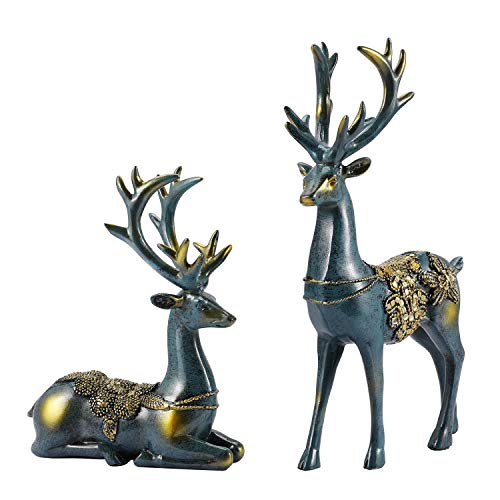 Flexzion Christmas Reindeer Mantel Decor Figurines and Statues - Set of 2 Pcs Reindeers Deer Statue, Nordic European Style Resin Figurine Sculpture for Home Living Room Decoration (Imitation Bronze)