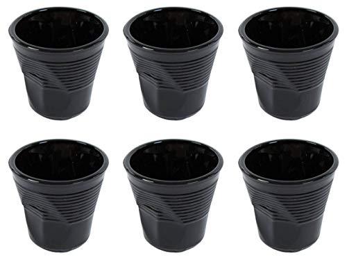 Kaleidos Set 6 Tazzine da caffè Accartocciati Ø6,5 cm in Vetro Pressato Neri