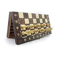 ポータブルチェスセット、超磁性木製チェス、バックギャモンチェッカー、3in1チェスゲーム古代チェストラベルチェスセット(29x29cm) LKWK
