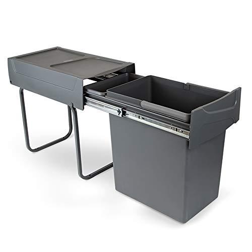 EMUCA - Cubo de Basura con fijación Inferior para Cocina, contenedor de Reciclaje extraíble, 20 L, Acero y plástico, Gris Antracita.