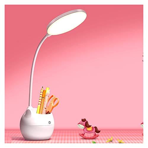 YZZ Lámpara de Escritorio LED Recargable Protección de Ojos Aprendizaje Dormitorio Pequeño Escritorio Lámpara Stall Lámpara Dormitorio Lámpara de Noche (Body Color : White, Size : 3500mAh)