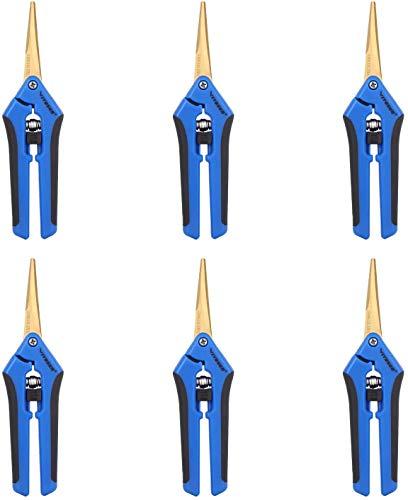VIVOSUN 6-Pack Gardening Hand Pruner Pruning Shear with Straight Stailess Steel Blades, Blue