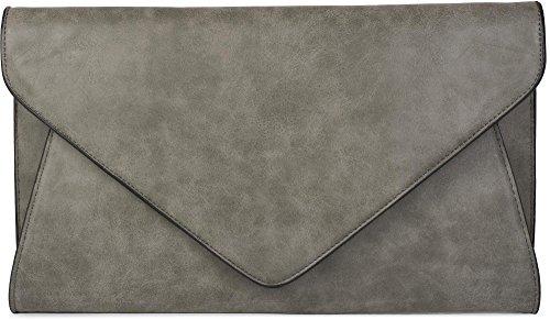 styleBREAKER borsa clutch da sera con design a busta a quadri con bretelle e tracolla, donna 02012087, colore:Grigio scuro