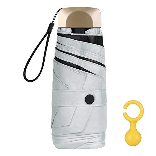 Vicloon Mini Paraguas, Paraguas de Viaje Portátil 6 Varillas, Paraguas Plegables con 210T Negro Tela de Goma, Aleación de Aluminio de Costilla & Mango Dorado, Resistencia UV & Impermeable - Blanco