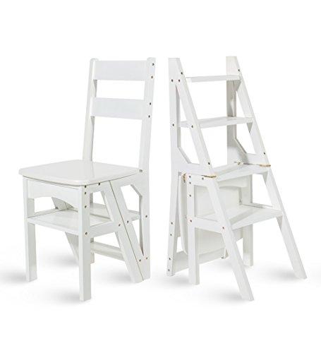 CAIJUN Échelle Chaise Bois Massif Usage Double Escaliers Herringbone Quatre Couches Ménage Blanc Chaise Pliante Monter L'échelle