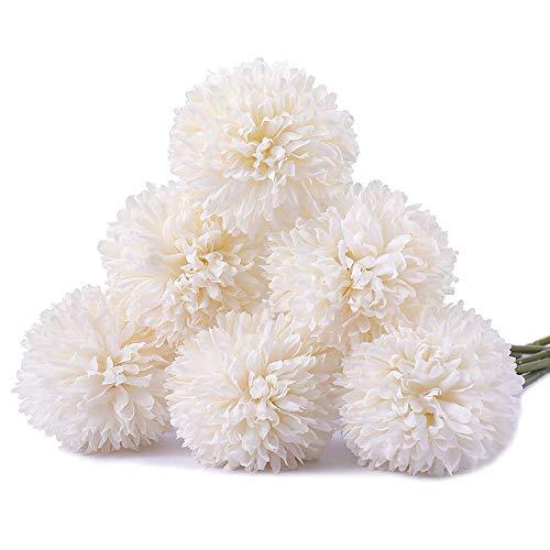 Flores artificiales Ruiuzi, flores artificiales de seda, 6 cabezas de hortensia artificial, ramo de boda para el hogar, jardín, fiesta, boda, decoración, 6 unidades, Rosa, talla única