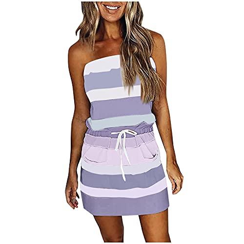 Vestidos Verano Mujer Cortos Baratos, Casual Vestidos Playa Mujer Sin Tirantes Cuello...