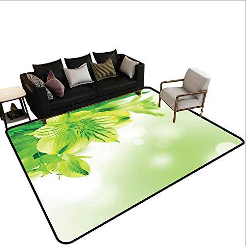 Slaapkamer bescherming van de woonkamer mat Groen, Bloeiende Lente Bloemen Verse Zomer Weide Thema Grafische Flora Print,Apple Groen Lichtgroen