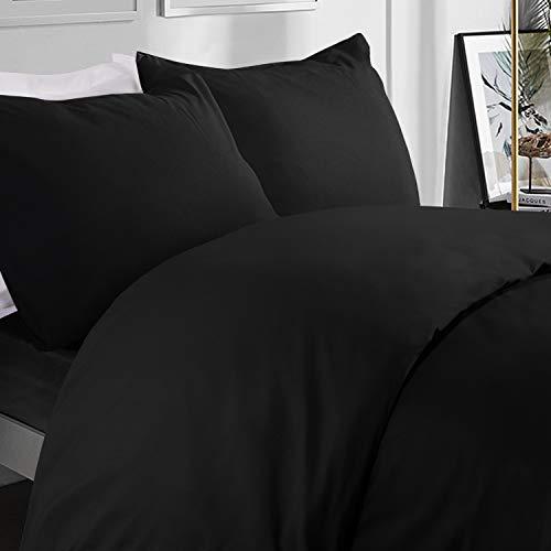 NTBAY Microfiber King Duvet Cover Set, 3 Pieces Solid Color Zipper Closure Bedding Set, Black