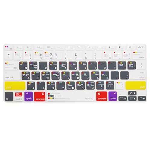 MOSISO Silicone Keyboard Cover Compatible with MacBook Pro 13/15 inch (with/Without Retincha Display, 2015 or Older Version) MacBook Air 13 inch (Release 2010-2017), Mac OS X OSX-M-CC-2, White