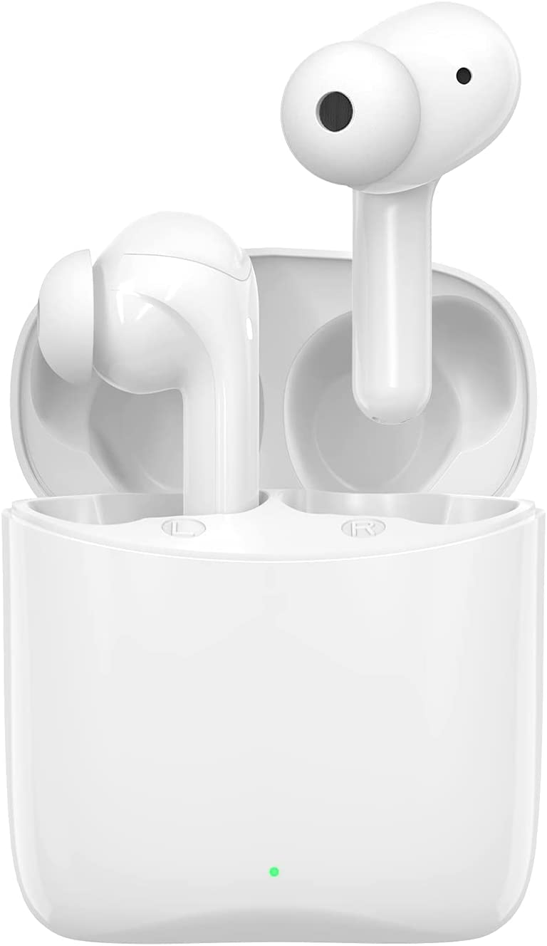 Otium Wireless Earbuds Bluetooth 5.1 Headphones Bluetooth Earbuds Hi-Fi Stereo Sound Deep Bass Noise Cancelling 30H Playtime in-Ear with Built-in Mic for Work/Travel/Gym (White) (White)