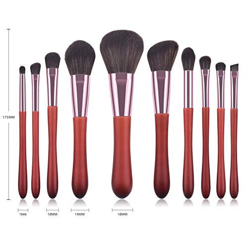 Etophigh Pinceaux de maquillage Set Foundation Brush Ombre à Paupières Brosse à Lèvres Blush Brush Kit de pinceau à sourcils, 10Pcs