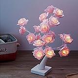 Lámpara de Mesa LED, Lámpara de árbol Bonsai con 24 Rosas, Lámpara Decorativa para...