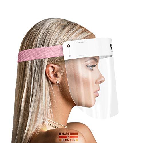 HARD 1x Pro Visera de protección facial, Certificado médico, Protector de plástico Antivaho, Pantalla protectora para adultos, Hecho en Alemania - Blanco/Rosa