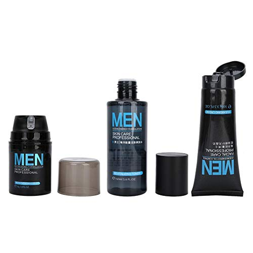 Crema facial, limpiador facial portátil, práctico 3 piezas para rostro masculino