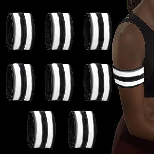 Ambolio Reflektierendes Armband,Reflektoren Joggen,Reflektorband,Hochwertige Reflexfolie für Erhöhte Sicherheit,für Outdoor Jogging, Radfahren, Wandern, Motorrad-Reiten Oder Laufen,8er Set.(schwarz)