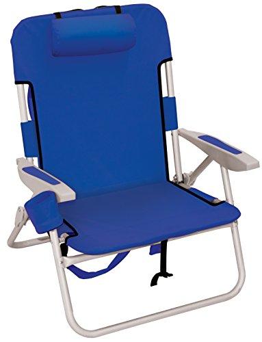 Rio Beach Big Boy Folding 13 Inch High Seat Backpack Beach or Camping Chair, Navy