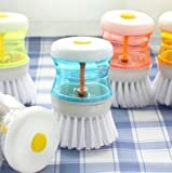 SHOPEE Plastic Cleaning Brush with Soap Dispenser for Kitchen, Sink, Dish Washer (9 x 5 x 5 cm, Multicolour) -3 Pieces