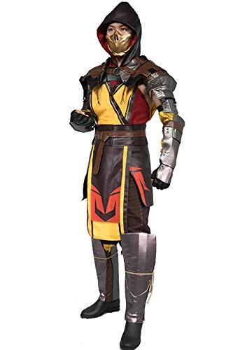 Chiefstore Scorpion Kostüm Spiel Mortal Kombat 11 Cosplay Outfit mit Zubehör für Erwachsene Herren Halloween Fancy Dress Kleidung (S)