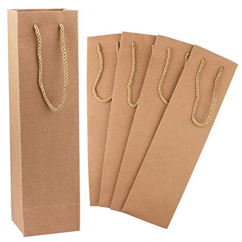 Sacchetto regalo per vino, confezione da 50 sacchetti di carta per vino, marrone, resistente, con manici, confezione per vino, adatto per matrimoni, feste