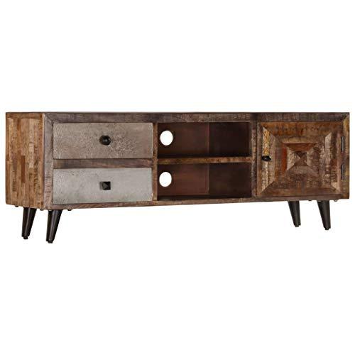 Festnight Mueble para TV Madera Maciza de Mango, con 2 Compartimentos y 2 Cajónes, con un Armario, 118x30x40 cm