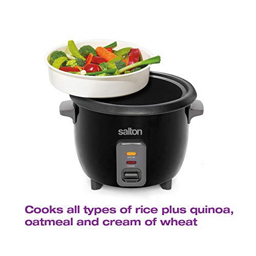 Salton 6 Cup Automatic Rice Cooker with Bonus Food Steaming Basket, Measuring Cup & Spatula, Removable Non-Stick Cooking Bowl for Quinoa, Oatmeal and More, Black, 900 Watts (RC1653)