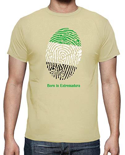 latostadora - Camiseta 5 Born In Extremadura para Hombre Crema L