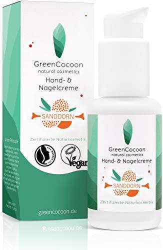 GreenCocoon Nagel- & Handcreme Bio Sanddorn – vegan zertifizierte Handcreme Naturkosmetik mit Sanddorn, Ringelblume und Hagebutte (50 ml)