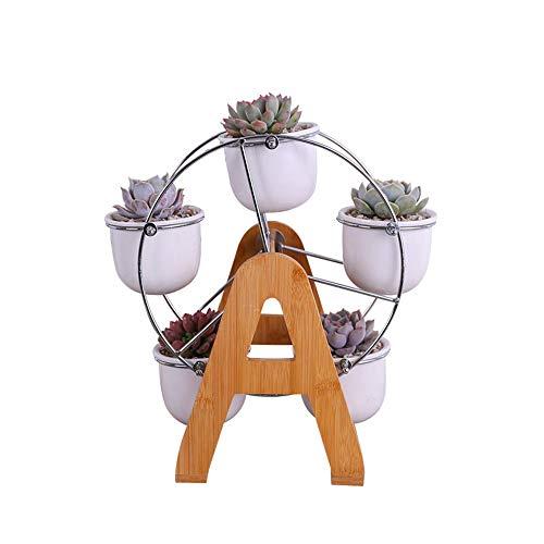 BPTCHP - Maceta Grande de cerámica con diseño nórdico para Plantas suculentas, decoración de Escritorio, Marco de bambú Creativo para el hogar, la Oficina, Adorno Creativo sin Planta