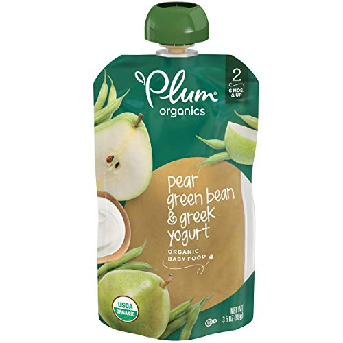 Plum Organics Stage 2, Organic Baby Food, Pear, Green Bean and Greek Yogurt, 3.5 Ounce Pouches (Pack of 12)