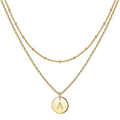 IEFWELL Dainty Gold Necklaces for Women, Initial Necklaces for Women Gold Necklaces for Women Gold Chain Necklaces for Women Necklaces for Teen Girls Gold Jewelry(A)