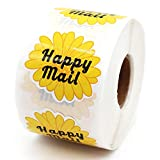 Muminglong 1.5 Inch Daisy Flowers Happy Mail Stickers, Small Shop Sticker, Small Business, Packaging Sticker, 500PCS
